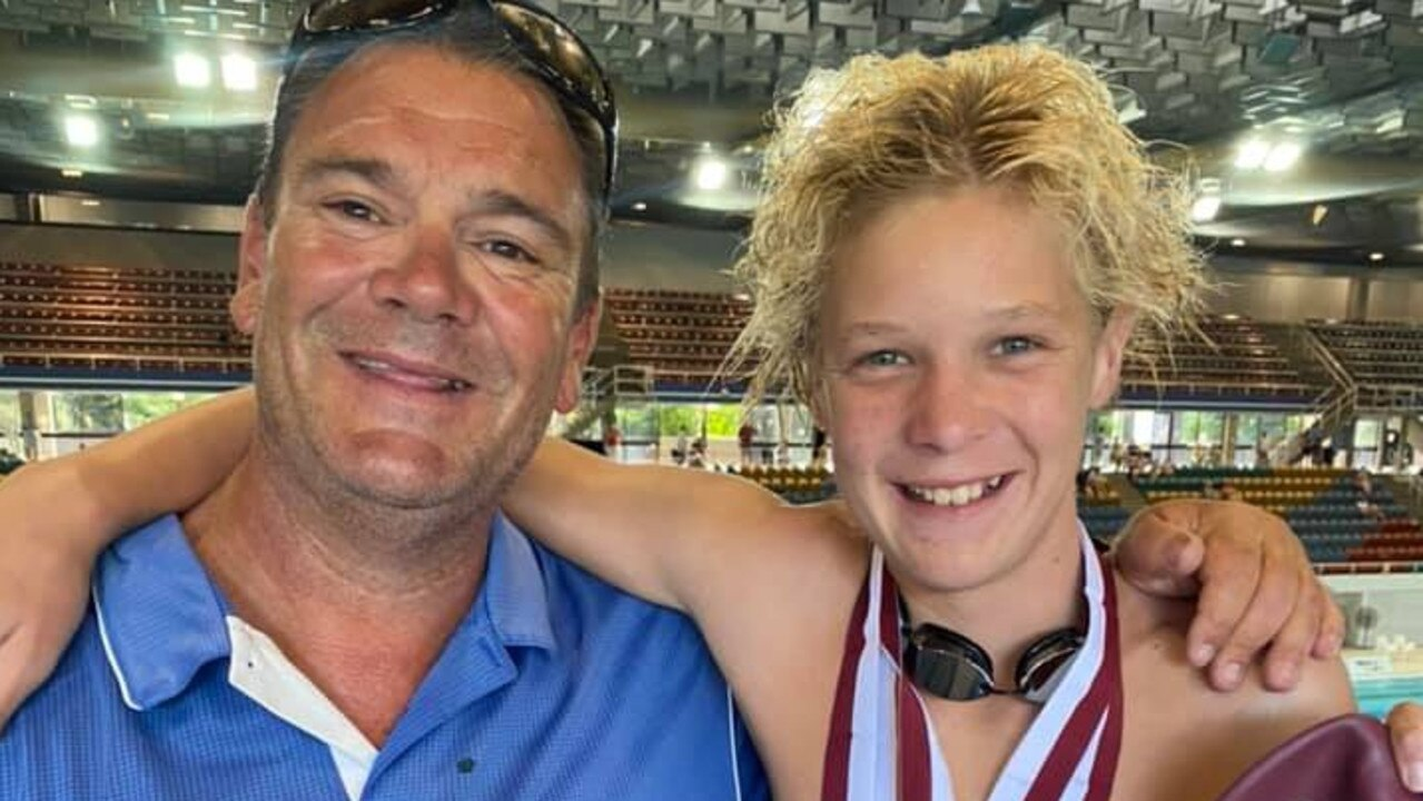 Young gun Bailey Harm with coach Andrew Fidge representing Allora Swimming Club at the 2021 Queensland State Sprints. Picture: Allora Swimming Club