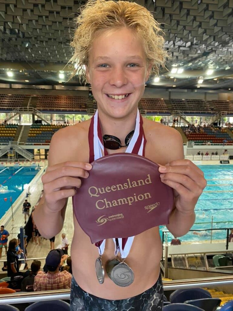 Bailey Harm after taking out a gold medal and two silver medals for Allora Swimming Club at Queensland State Sprints. Picture: Allora Swimming Club