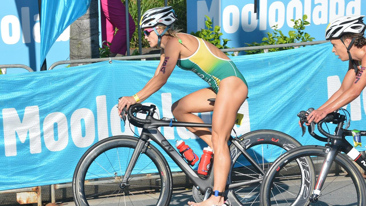 Competitors in the cycle leg during the Mooloolaba Triathlon last year. Picture: Warren Lynam