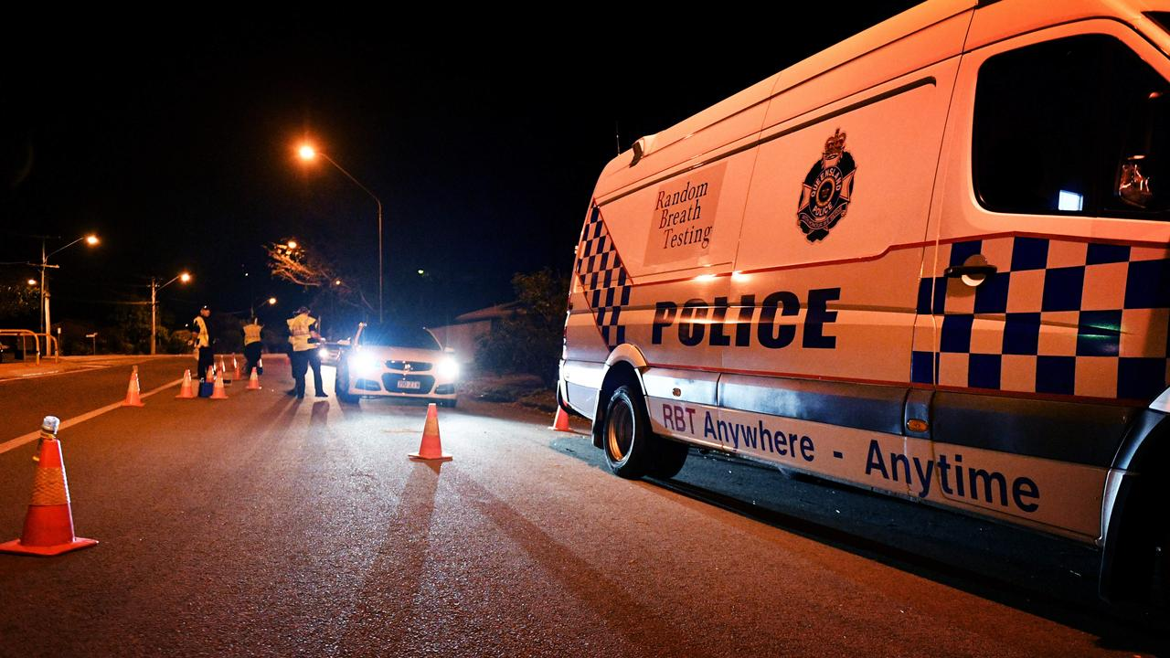 A police roadside breath testing unit in action. FILE PHOTO.