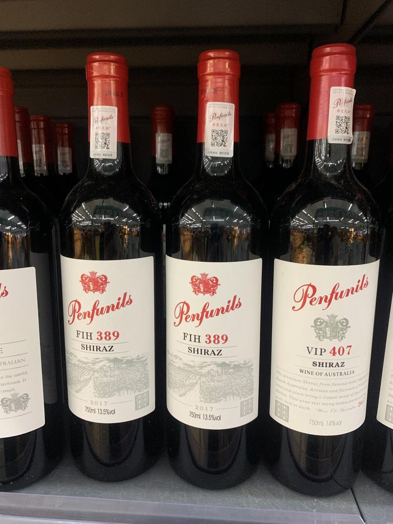 Fake Australian wine sold in Hainan, China. Picture: Twitter