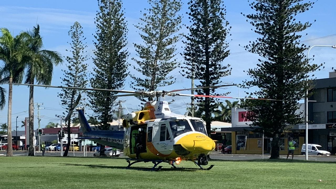 The RACQ CQ Rescue helicopter outside Mackay Regional Council chambers. Picture: Melanie Whiting