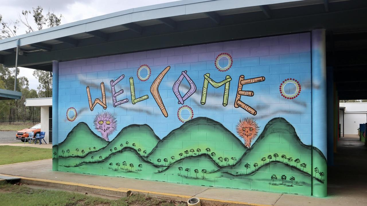New Indigenous artworks at Tieri State School, painted by indigenous artist Arthur Conlon and the students.