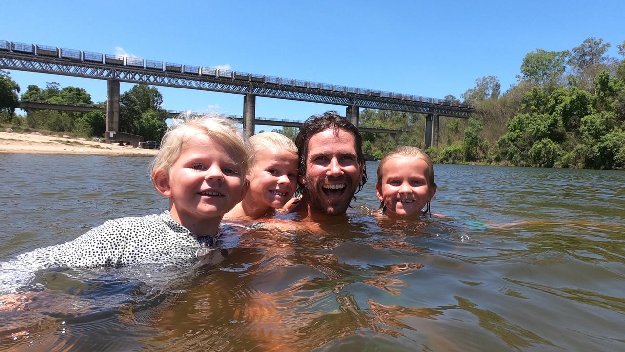 Charli, Billy, Justin and Jack Lorrimer at Platypus Beach, Mirani