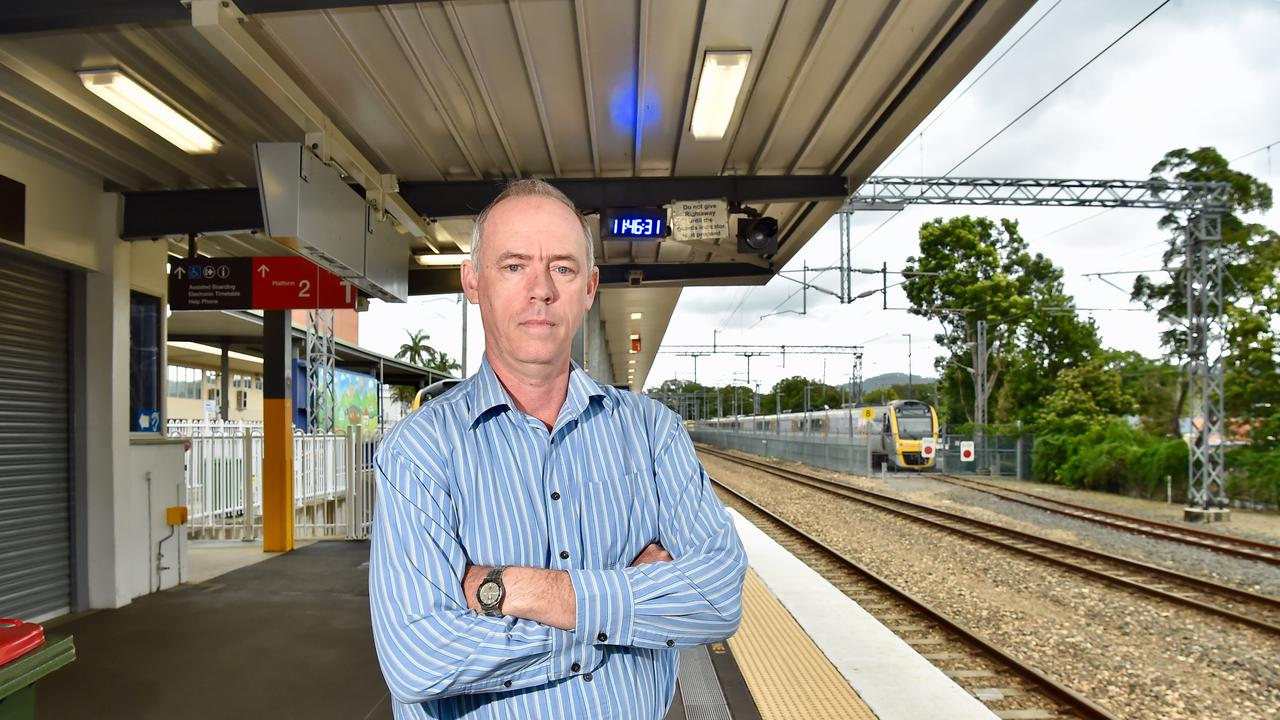 Jeff Addison from Sunshine Coast Rail Back on Track pictured at the Nambour Train Station is concerned for stage two of the Sunshine Coast rail dupication.