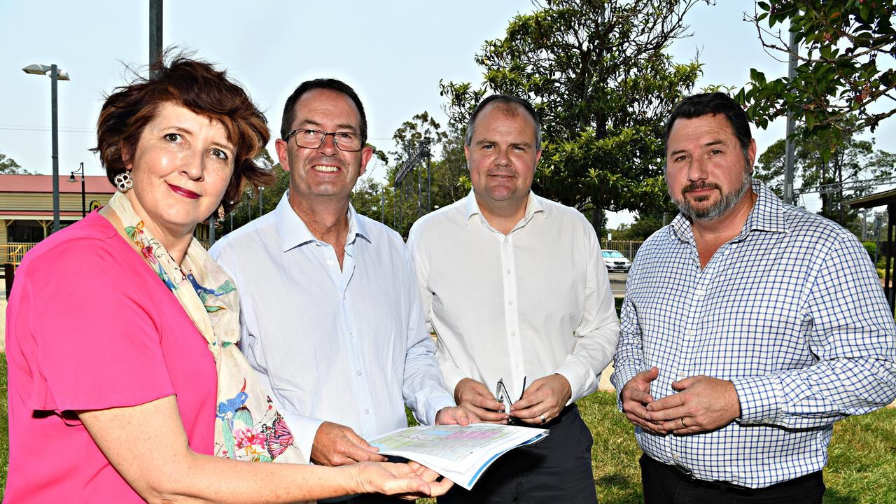 Federal Members Andrew Wallace (second left) and Ted O'Brien pictured with Member for Maroochydore Fiona Simpson and Andrew Powell (right) Member for Glass House after the Federal Government's funding announcement for the duplication.