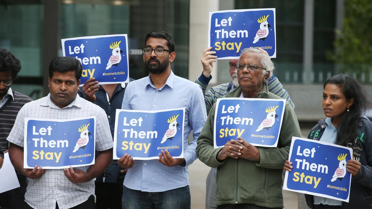 A group of supporters for the Tamil family facing deportation are seen in front of the Federal Court of Australia in Melbourne on February 25. Picture: AAP Image/David Crosling