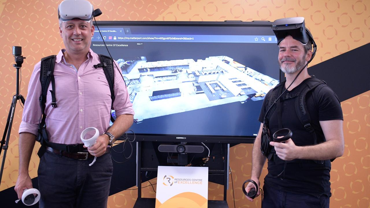 Resources Centre of Excellence general manager Steven Boxall with QUT senior software developer Allan James demonstrating the VR technology. Picture: Melanie Whiting