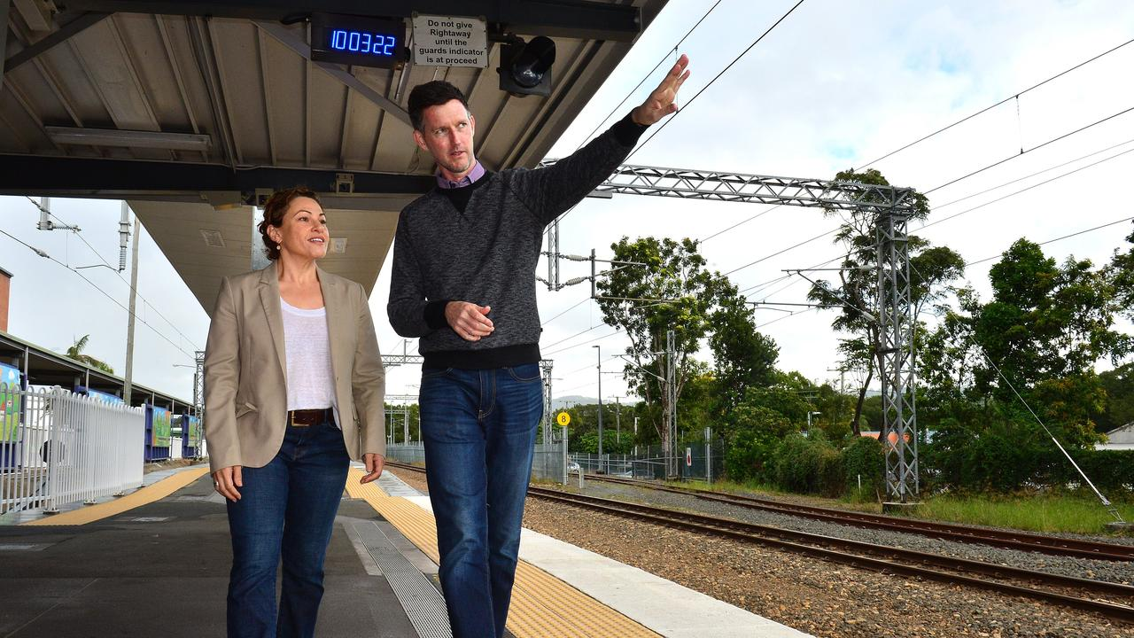 Former deputy premier Jackie Trad and Minister for Transport and Main Roads Mark Bailey in Nambour to announce a $160 million State Government commitment to rail duplication between Nambour and Beerburrum.