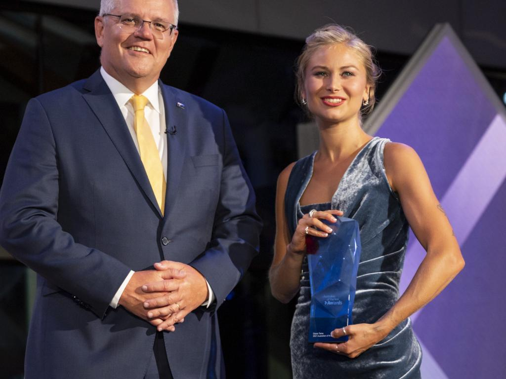 Ms Higgins said that one of her motivations for speaking out was her 'anger' at seeing the Prime Minister stand on a podium with Ms Tame as she was announced as Australian of the Year. Picture: NCA NewsWire / Martin Ollman