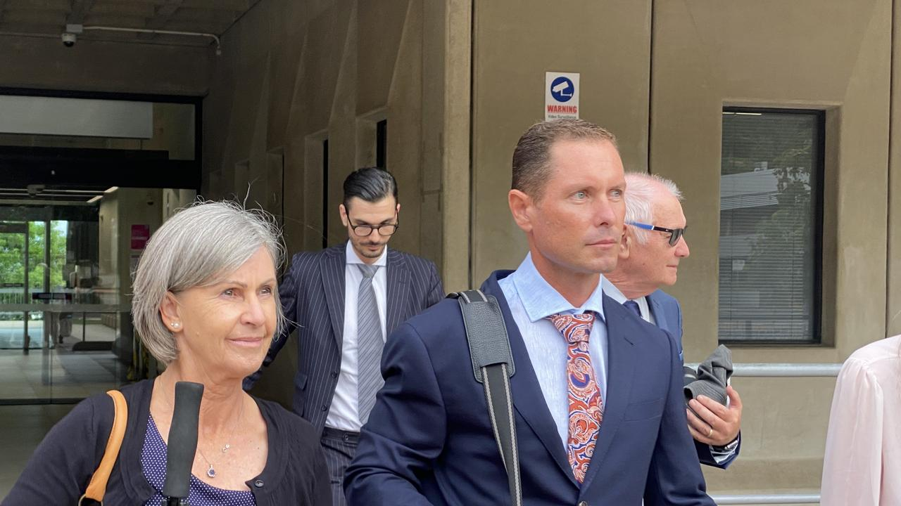 Townsville father Nicholas Aaron Baxter leaves Townsville courthouse alongside his supporters after the first day of his retrial. He was acquitted of the murder of his six-week-old son but convicted and jailed in 2017 after a jury found him guilty of manslaughter. This conviction was overturned at appeal.