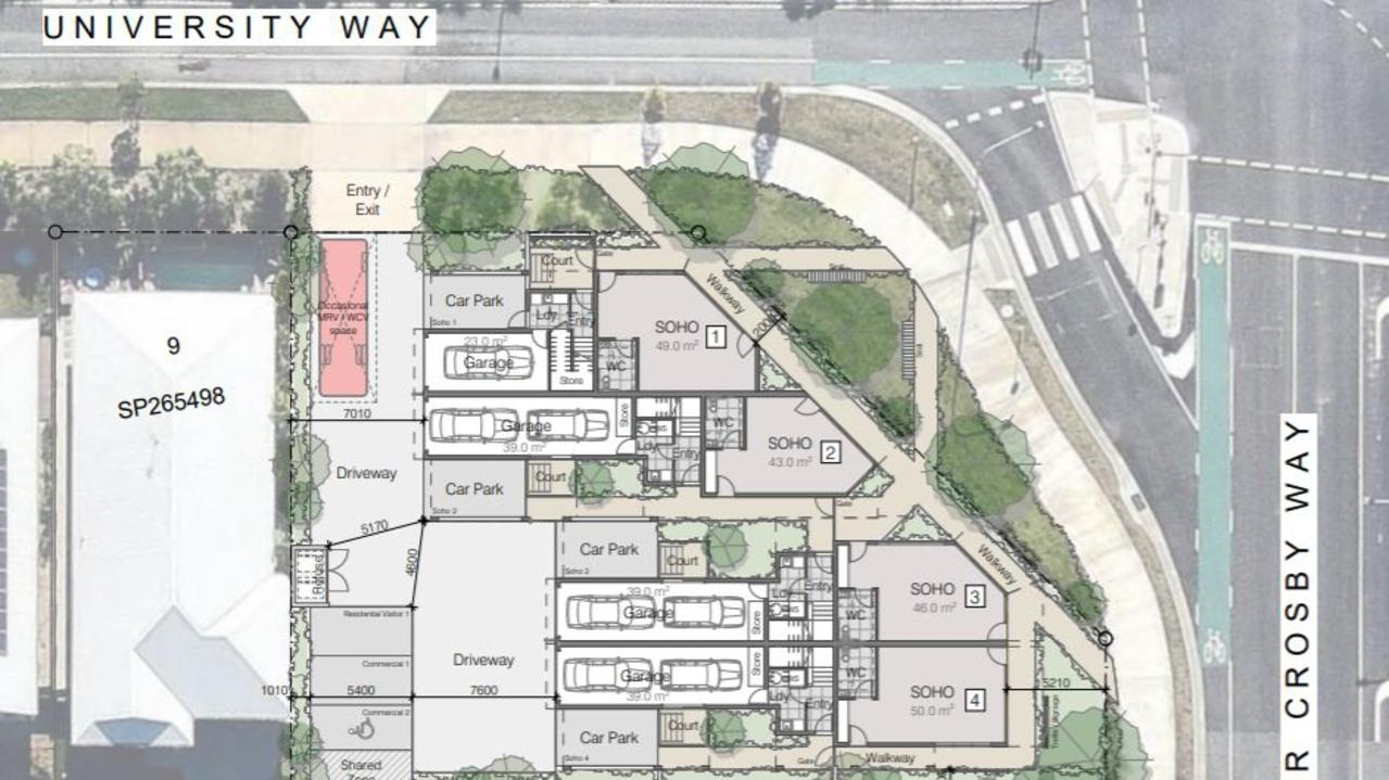 A development application has been lodged for a retail and residential at 310 University Way, Flame Tree Pocket, Sippy Downs. It includes multiple SOHO (Small Office Home Office) spaces.