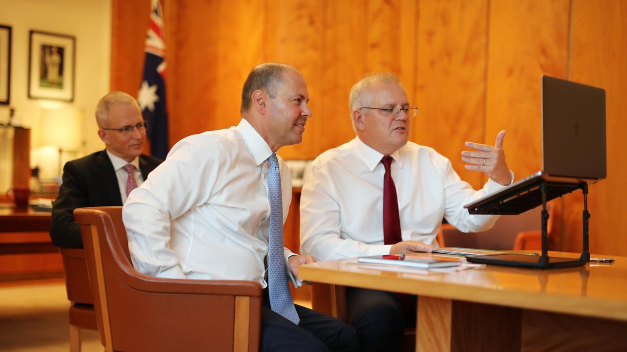 Prime Minister Scott Morrison, Treasurer Josh Frydenberg and Communications Minister Paul Fletcher chat with Alphabet chief executive Sundar Pichai on February 4. Picture: Adam Taylor / PMO
