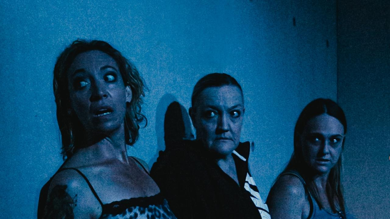 Claire Atkins, Kate Foster and Kate Horsley in the play Shit, coming to the Drill Hall Theatre in Mullumbimby from March 12 to 28.