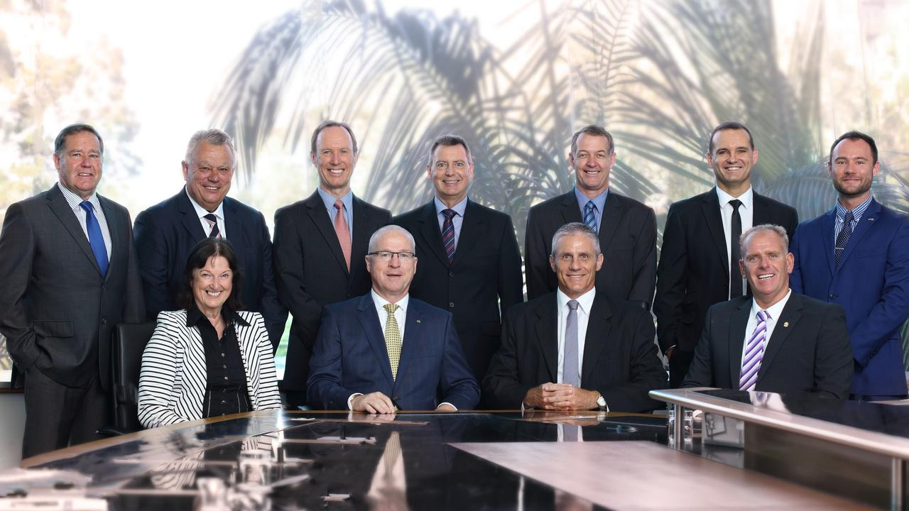 The cohort of Sunshine Coast councillors elected in 2016 who voted on the Sekisui House proposal at Yaroomba Beach. Back row, from left, Greg Rogerson, John Connolly, Rick Baberowski, Steve Robinson, Ted Hungerford, Peter Cox, Christian Dickson. Front row, from left, Jenny McKay, Mayor Mark Jamieson, Tim Dwyer and Jason O'Pray.