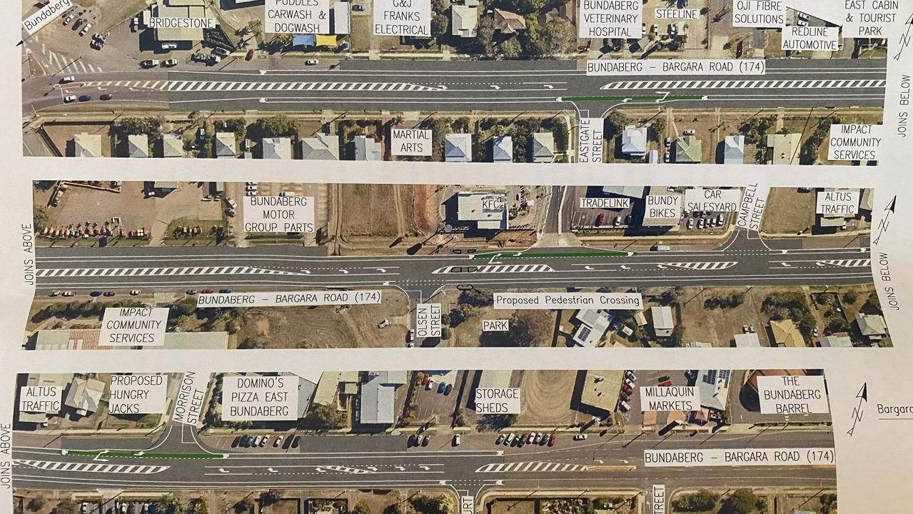 Plans for the Princess St and Bargara Rd upgrades which will begin on Monday.