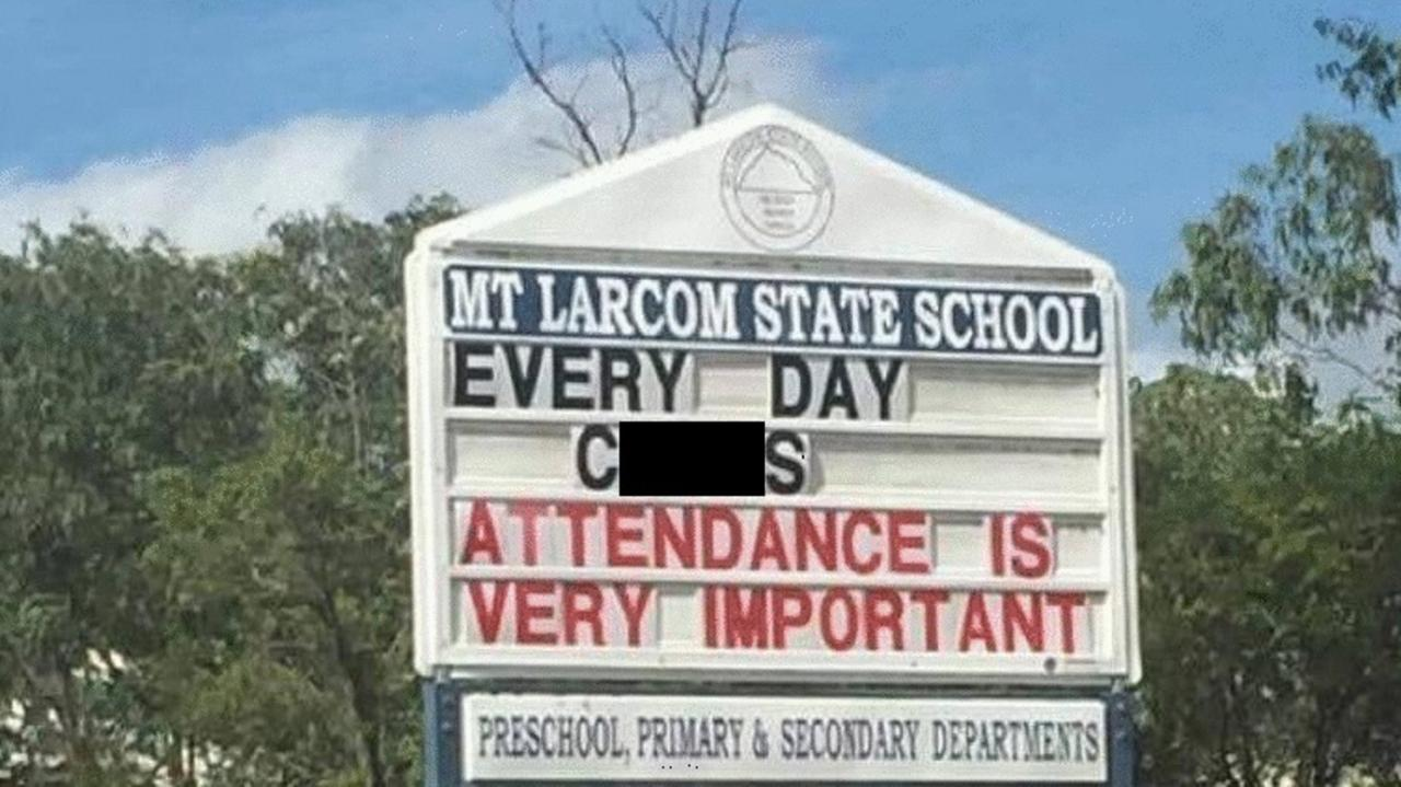 A sign warning students about their attendance rate at a Gladstone primary school was changed into a crude message.