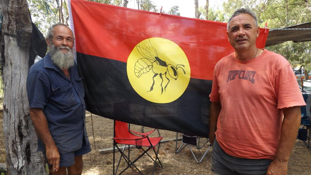 Left: Djaa'mee Gul'ar Djan'du Sovereign Kabi tribal man and, right, Wit-Boooka Sovereign Kabi Tribal Law/Lore man.
