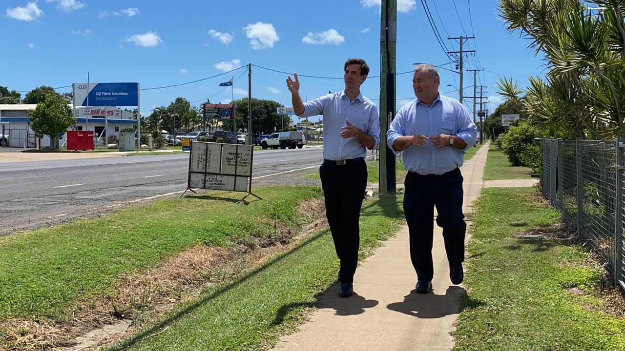 Bundaberg Mayor Jack Dempsey and Member for Bundaberg Tom Smith look over and discuss the plans for the road works on Princess St.