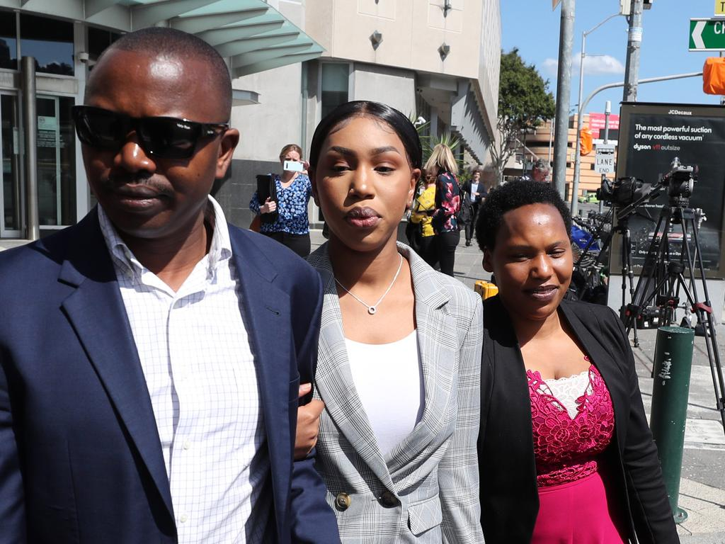Olivia Muranga (centre) has requested her case for allegedly breaching border declarations be heard separately from that of her two co-accused. Picture: Peter Wallis
