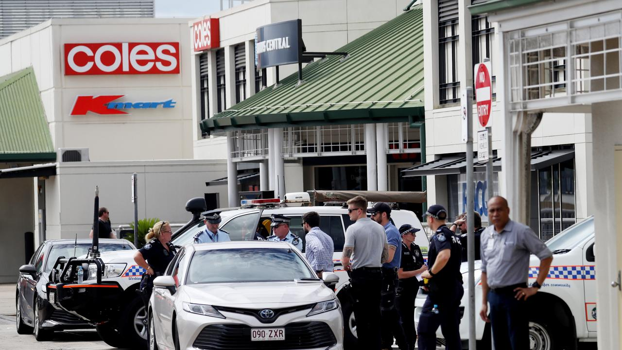 Police attend the scene of the alleged stabbing at Cairns Central shopping centre. Picture: Stewart McLean