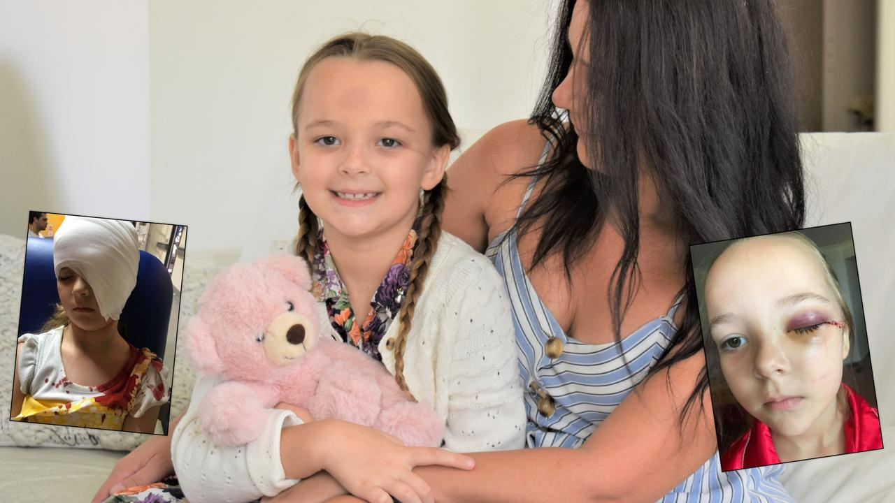 Savana Pierce, 6, and her mother Jessica Pierce six weeks after the horror accident. Photo: Ebony Graveur