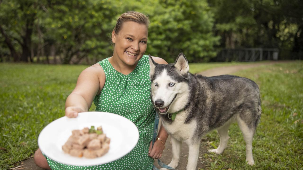 Ally Petrie with her dog Pippa who eats the new Mad Paws' fresh raw food dinner service. Pic Peter Wallis