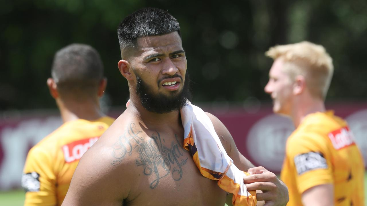 Payne Haas' year has gone from bad to worse with the Broncos' enforcer forced from the training field with a leg injury.