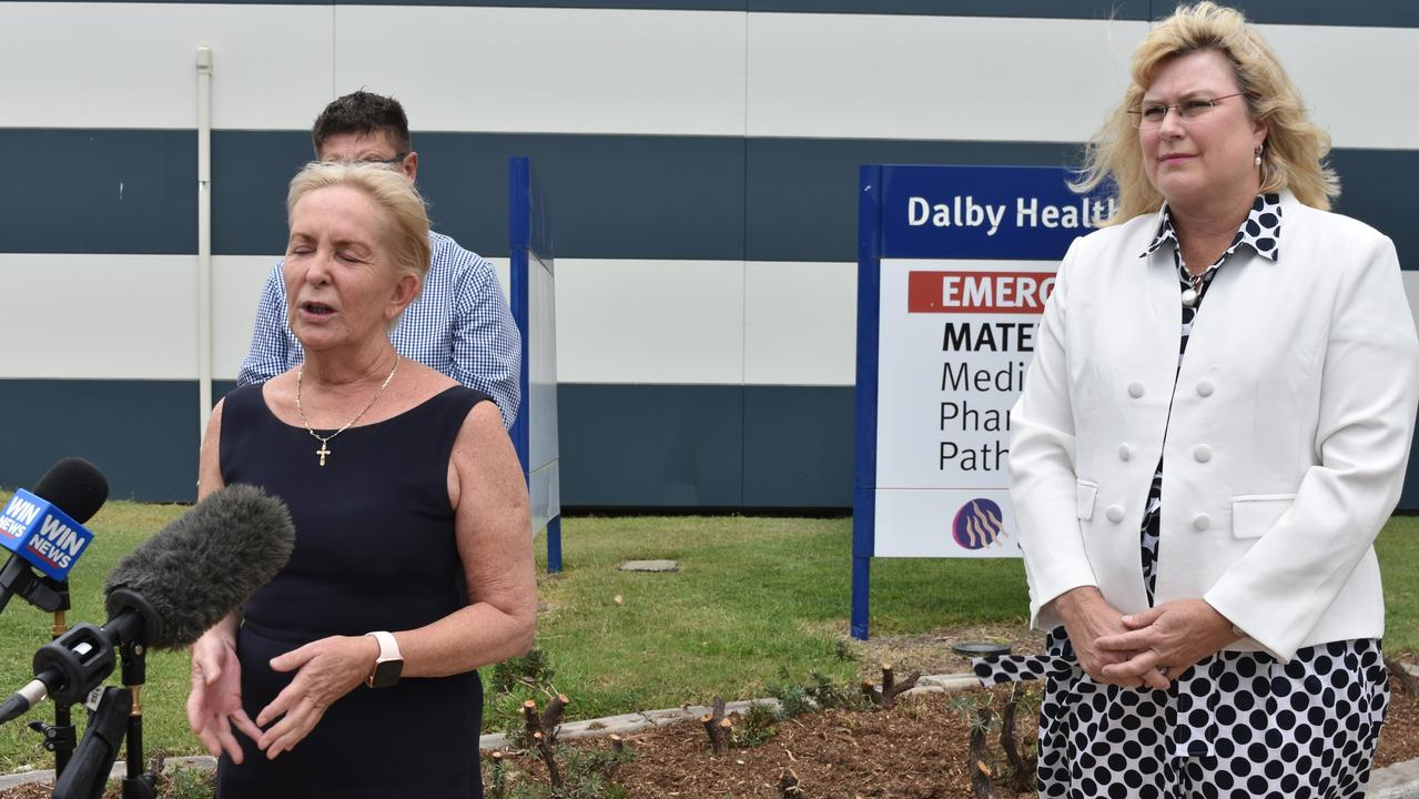 Mudgeeraba MP Ros Bates and Warrego MP Ann Leahy at Dalby Hospital on February 18, 2021. Picture: Sam Turner