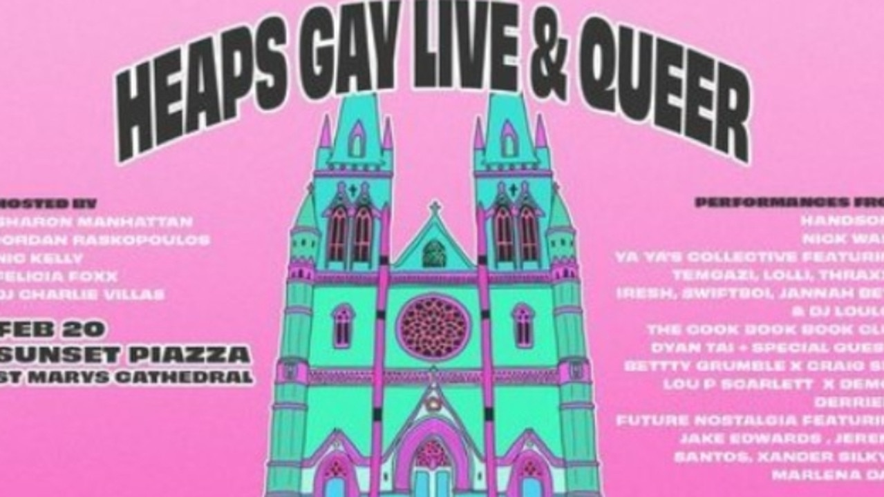 City of Sydney council has been forced to remove images of St Mary's Cathedral from advertisements for the Heaps Gay Live and Queer concert this weekend.