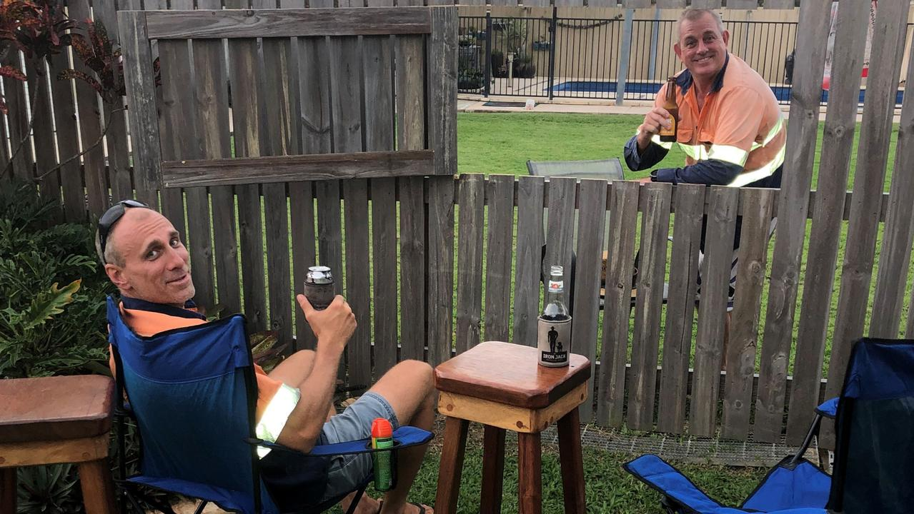 Legendary neighbours Adam Batzloff and Gaven Klingner found an inventive way to remain neighbourly during COVID lockdowns. Picture: Contributed