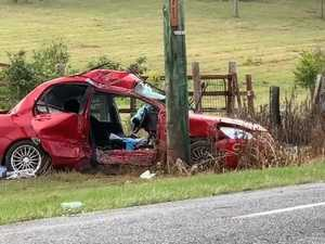 Man sustains injuries after car collision with power pole west of Grafton