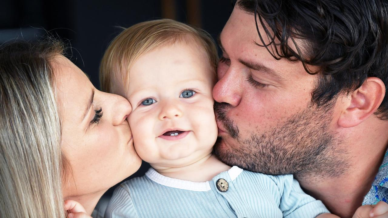 Mitch and Sarah Platt have had success using Coastal IVF - they now have 9 month old son Otis. Picture: Patrick Woods.