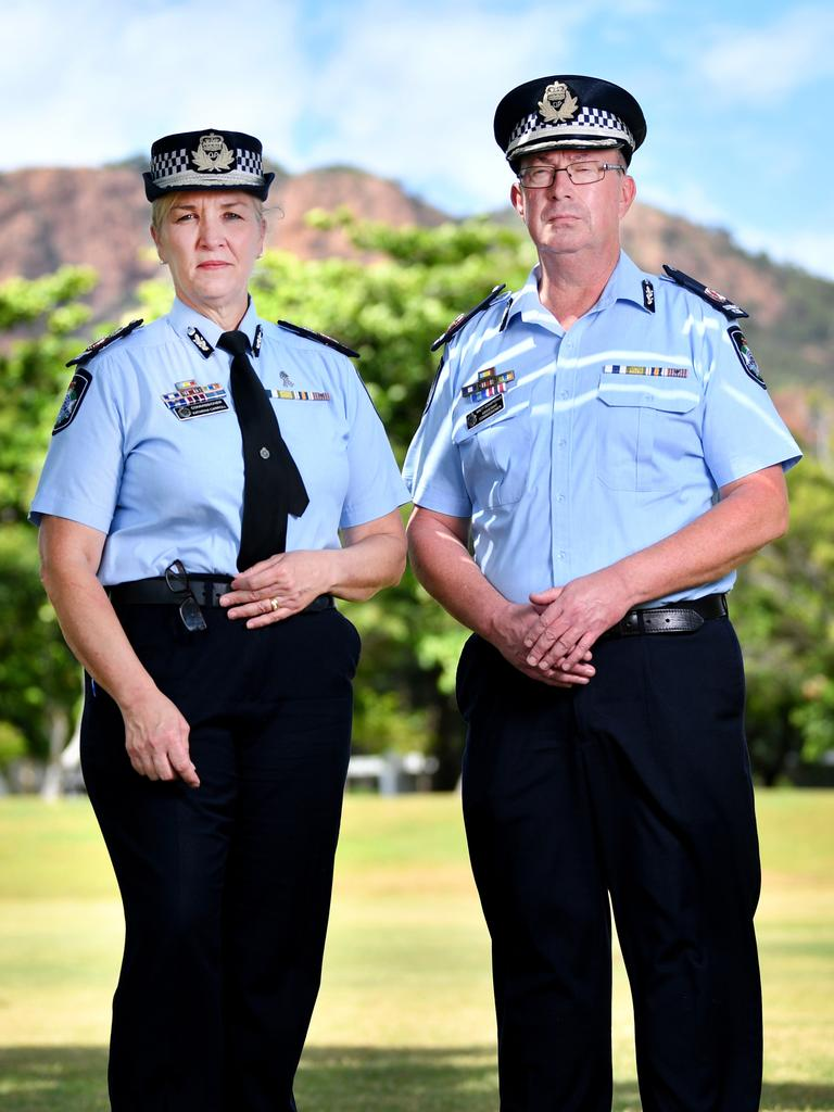 Queensland Police Commissioner Katarina Carroll and Assistant Commissioner Brett Schafferius in Townsville. Picture: Alix Sweeney