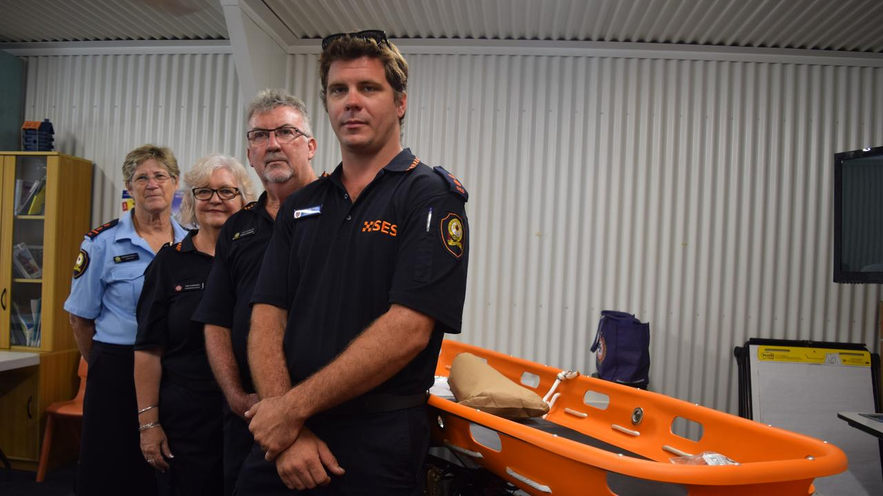 Christine Persello from Bowen SES, Proserpine SES group leader Sue Connors, Whitsunday SES local controller Mark Connors and Daniel Moss from Airlie Beach SES with new equipment donated through a partnership with Energy Queensland and Powerlink Queensland. Photo: Elyse Wurm