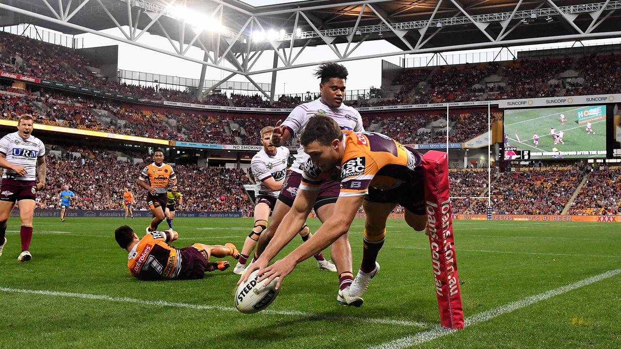It was the Corey Oates show against the Sea Eagles. Picture: AAP Image/Dave Hunt