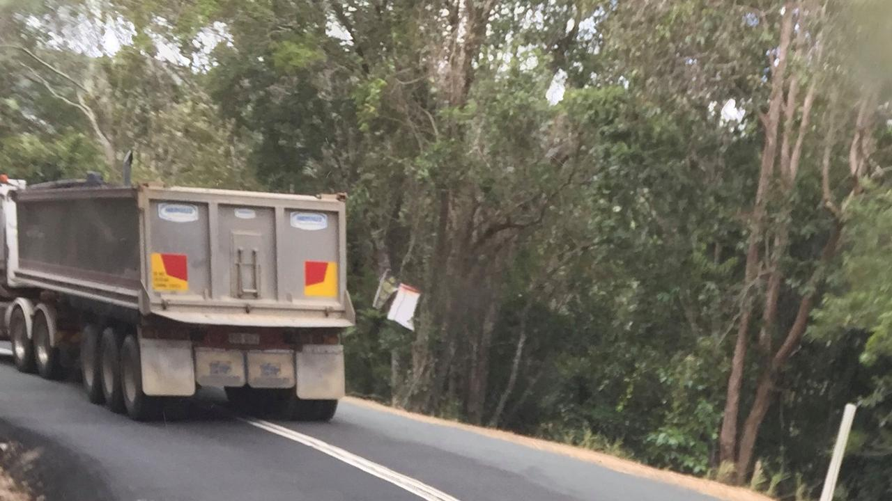 A photo posted online by Save Noosa Hinterland shows a heavy vehicle crossing the centre line at Kin Kin.