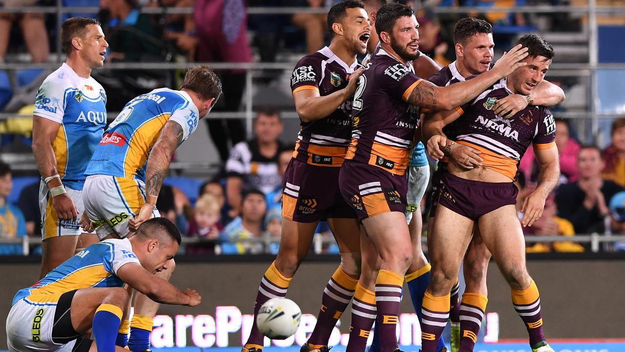 The Broncos cemented their big brother status against the Titans in their 2017 massacre at Cbus Super Stadium in Robina. Picture: AAP Image/Dave Hunt