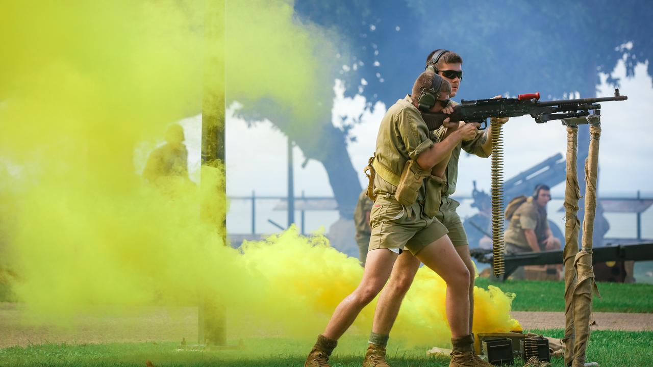 ADF troops perform a re-enactment of the defence of Darwin. Picture: Glenn Campbell/NCA NEWSWIRE