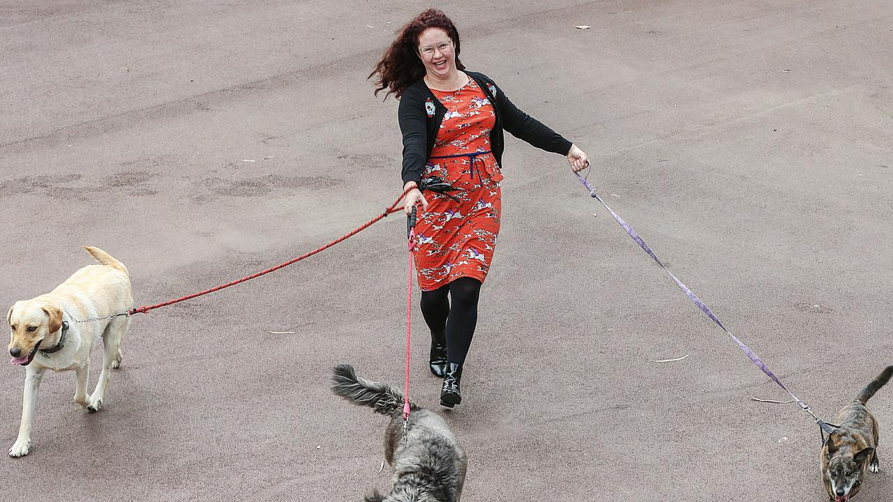 Comedian Mel Buttle when she was a dog walker. Picture: Ian Currie