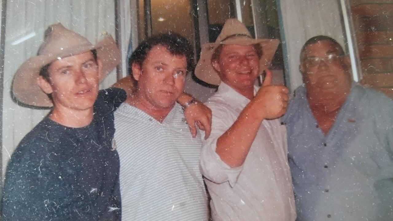 Dylan Donohue (left) pictured at his 21st birthday party with Terry Jnr, Uncle Bear and Pa.