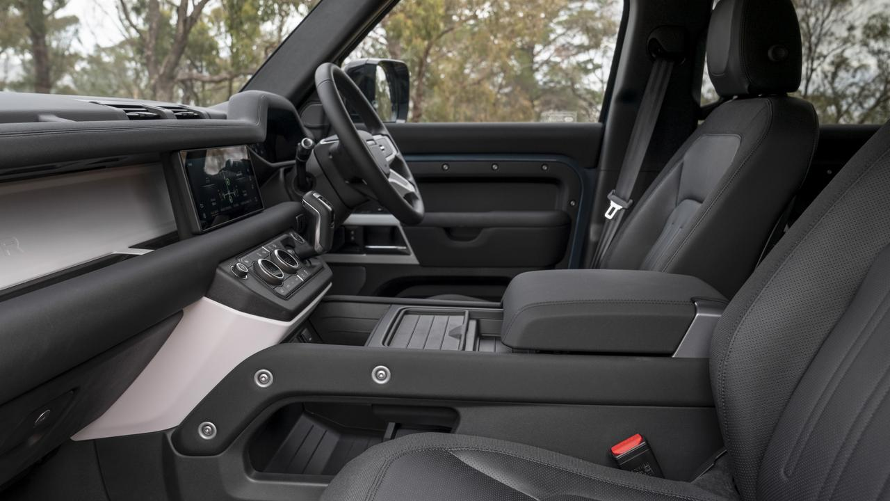 The Defender comes with a 10-inch touchscreen inclusive of smartphone mirroring apps Apple CarPlay and Android Auto connected to a six-speaker stereo, dual-zone aircon, keyless entry and electric adjustable front seats all complimentary.