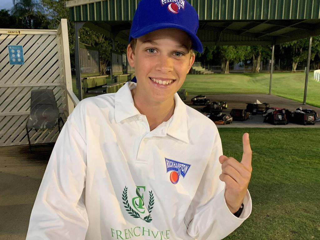 Rockhampton Blue under-14 bowler Ben Van Bael was in blistering form in the opening game of the Central Queensland Intercity T20 Junior Carnival on Thursday night.