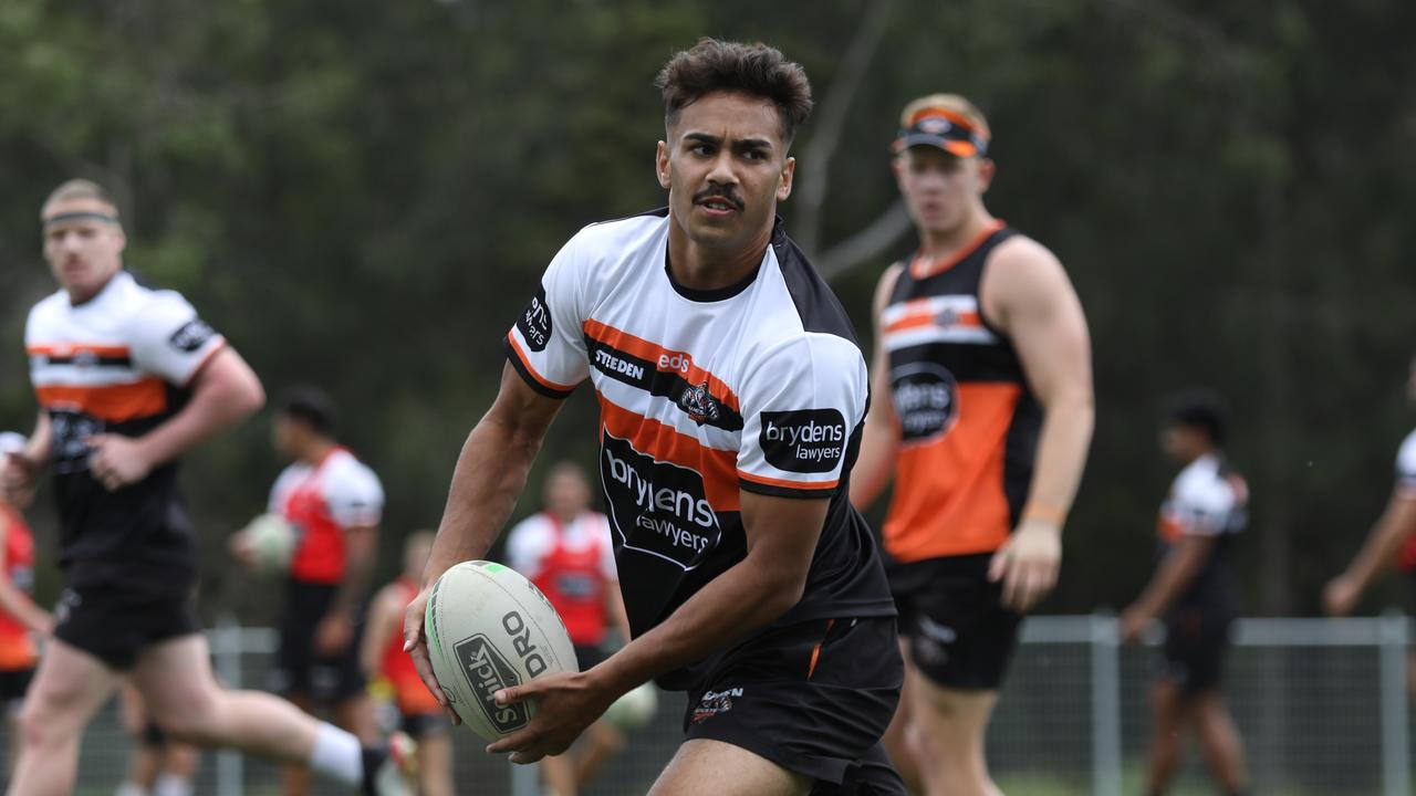 Young Daine Laurie has moved to the Wests Tigers and is pushing for a starting spot in Round 1. Picture: Tigers Digital.