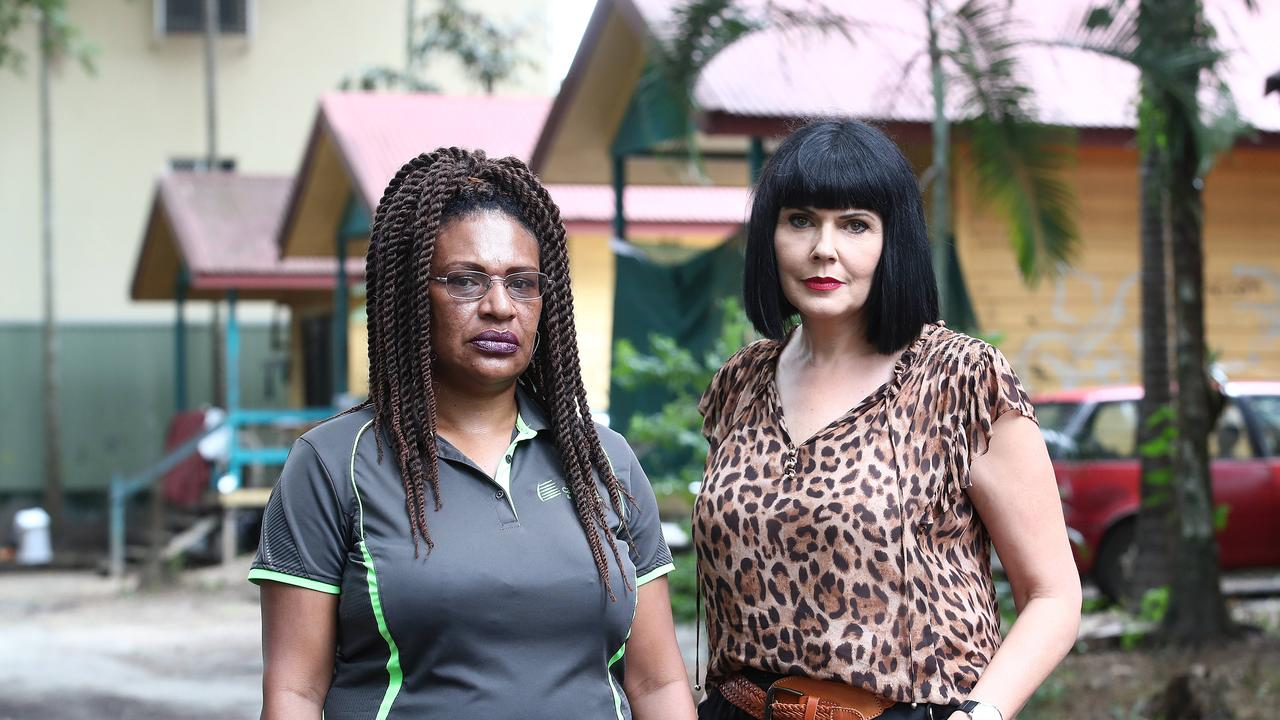 Caretaker of the Cairns Villa and Leisure Park Sandy Michael and Women's Yarning Place founder Yolonde Entsch. Picture: Brendan Radke