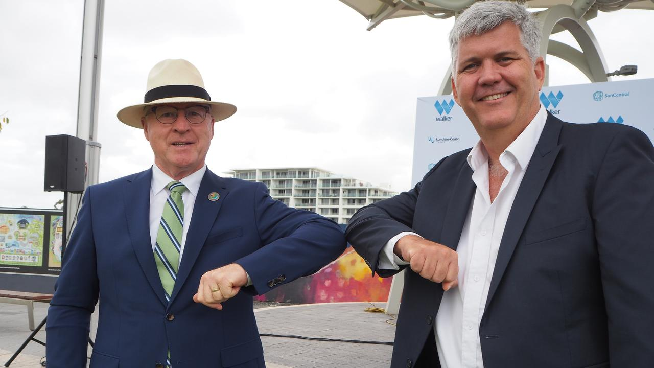 Mayor Mark Jamieson and Walker Corporation's commercial manager Malaysia and development projects George Quinn announce the development agreement for the Maroochydore city centre.
