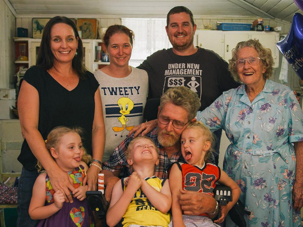 Gary Madden reunited with his family on the Sunshine Coast.