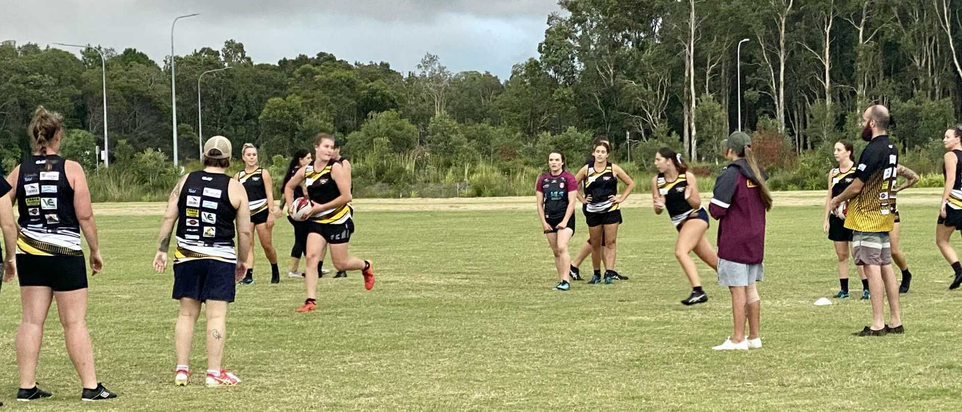 Caloundra Sharks women's rugby league team hit the pitch ahead of their first game in the Sunshine Coast rugby league competition.