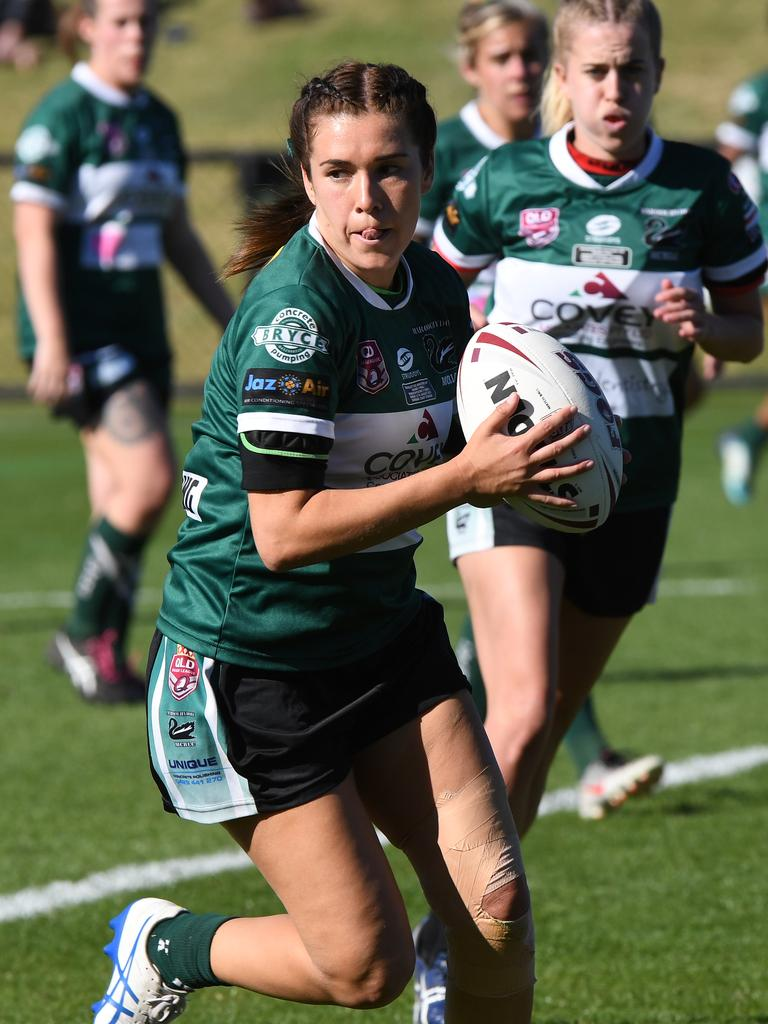 Ella Harris plays for Maroochydore in a women's rugby league grand final.