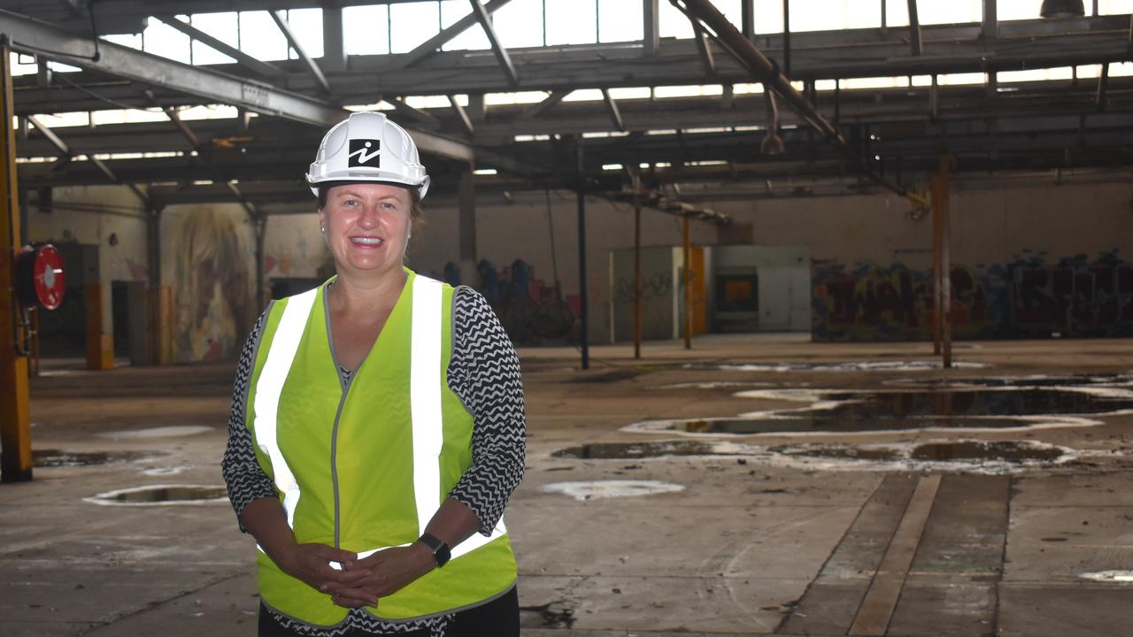 Ipswich mayor Teresa Harding inside the old Woollen Mills in North Ipswich. The property was acquired by the council in 2015.